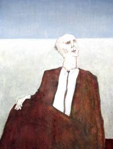 1976, Seated Figure, Acrylic on board