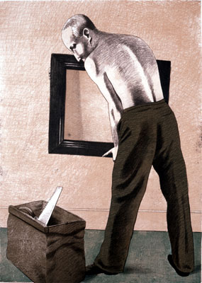 1983, Man and Mirror, Lithograph 59cm x 42cm