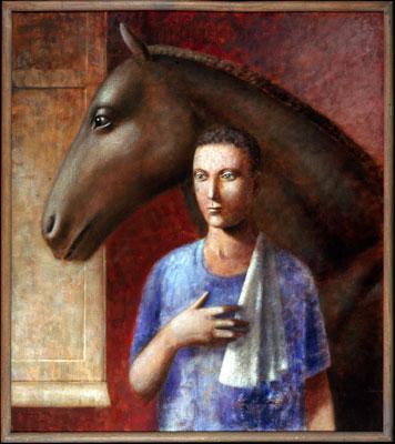 1985, Horse and Groom, Acrylic on canvas, 96cm x 85cm