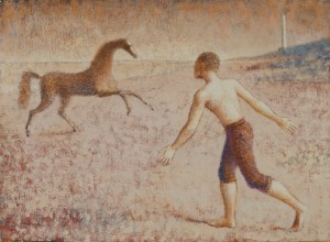 1990, Horse Rearing, Boy Running, Oil on canvas mounted on wood, 30cm x 41cm