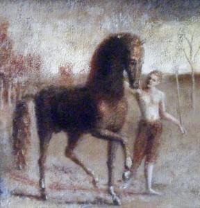 1990-1995, Boy Leading a Horse, Acrylic on canvas, 25cm x 25cm