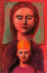 2002, Madonna and Child, Mixed media, 22cm x 14cm