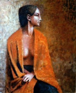 1985, Woman draped in shawl, Acrylic on canvas, Dimensions unknown