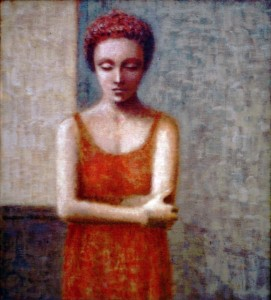 1989, Girl in Red Dress, Acrylic on canvas, Dimensions unknown