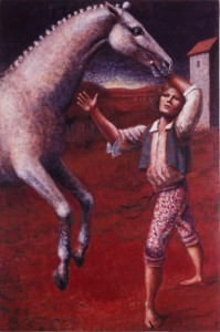 1989, Horse Rearing and Groom, Acrylic on canvas, 152cm x 102cm
