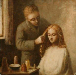 1987, Man Combing Womans Hair, Acrylic on canvas, Dimensions unknown