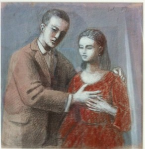 2, 1987, Lovers 1 study 06, Mixed media, 22cm x 20cm