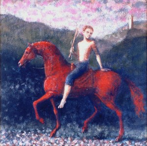 3, 1991, Red Rider, Acrylic on canvas, 30cm x 30cm