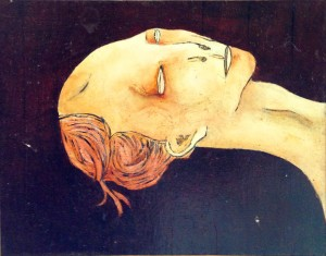 1975, Reclining Head, Acrylic on board, 18cm x 23cm