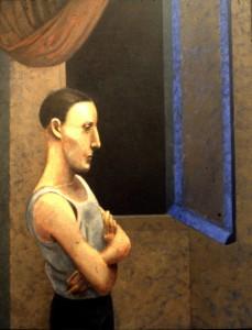 1983, Night Window, Acrylic on canvas, 75cm 56cm
