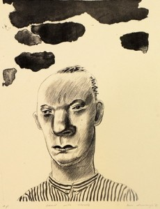 1981, Head with Clouds II, Lithograph, 40cm x 30cm