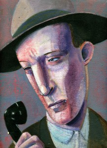 1982, Man Speaking on the Telephone, Acrylic on canvas, 30cm x 23cm