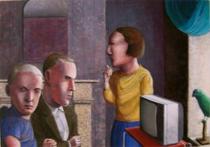 1982, The Waiting Room, Gouache and paper, 50cm x 70cm