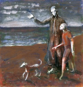 1989, Two Figures and a Dog, Mixed media, 25cm x 20cm