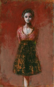 1985, Girl Standing, Mixed media, 28cm x 18cm