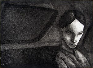 1981, Back Seat, Etching, 25cm x 33cm