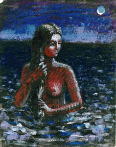 1987, Girl with Braid study 05, Mixed media, 25cm x 20cm