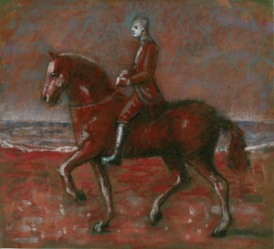 1987, Horseman with Guide study 02, Mixed media, 21cm x 23cm