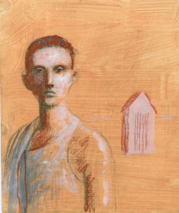1988, Boy and House, Mixed media, 20cm x 17cm