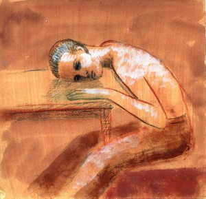1988, Boy Resting on Table, Mixed media, 22cm x 21cm
