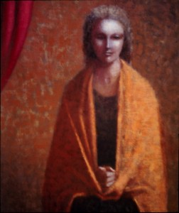 1989, Woman Draped in Orange Shawl, Acrylic on canvas, Dimensions unknown
