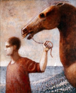 1991, Boy Leading Horse by the Sea, Acrylic on canvas, 56cm x 46cm